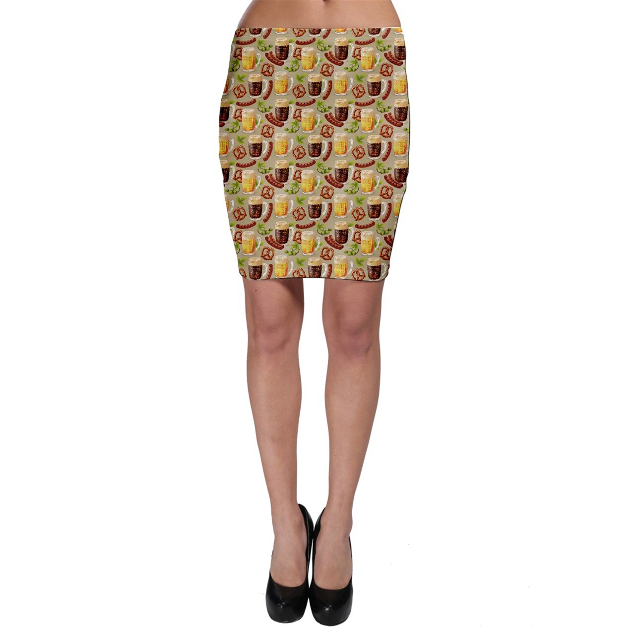 CowCow Colorful Glass Mugs Lager Dark Beer Hop Pretzel Sausage Pattern Bodycon Skirt