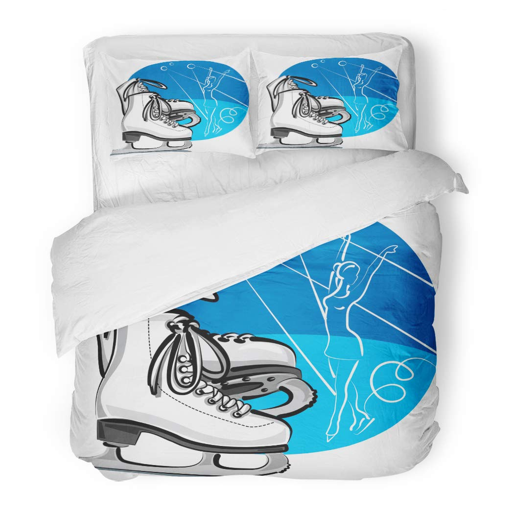 Emvency Bedding Duvet Cover Set Twin (1 Duvet Cover + 1 Pillowcase) Ice Figure Skates Skater Boots Activity Blade Dance Exercise Girl Hotel Quality Wrinkle and Stain Resistant