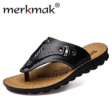 New Arrival Fashion Design Leather Men's Slippers Summer Leather Slippers Comfortable Sandals Slides Beach Sandal Outdoor Men Slipper Shoes hot sale sxuthsQnjE