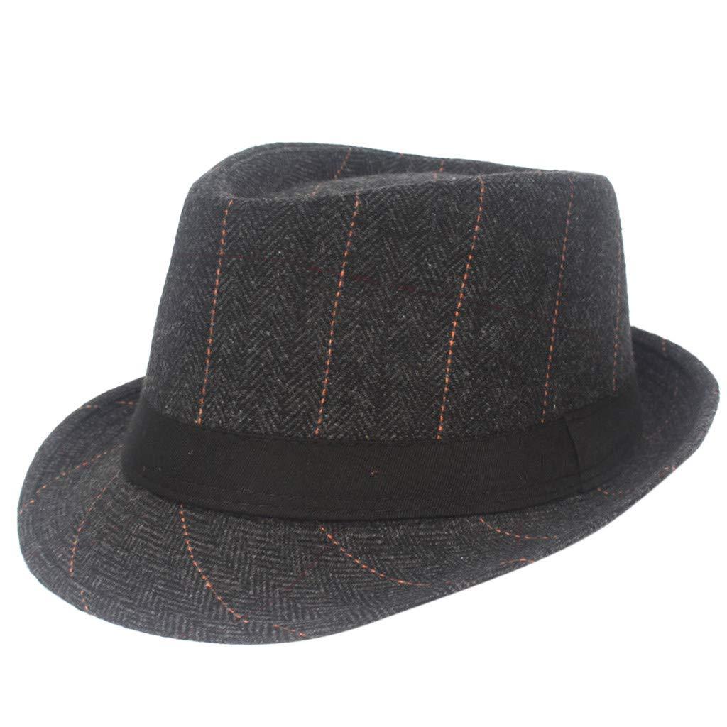 Classic Trilby Fedora Straw Hat Cap, Iuhan Black Grey Herringbone Newsboy Baker Boy Tweed Flat Cap Mens Gatsby Hat Beach Sun Hat Jazz Cap for Women Men (Black)