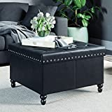 Nathan James 73302 Payton Fodable Storage Ottoman Leather Square Seat, Black
