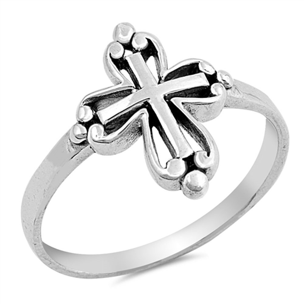 Victorian Style Wholesale Cross Ring New .925 Sterling Silver Band Size 4