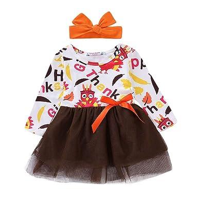 898b063f6 sunnymi Infant Baby Girls Cartoon Turkey Thanksgiving Day Fancy ...