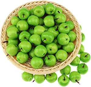 Gresorth 30pcs Mini Artificial Green Apple Decoration Fake Fruit Home Party Kitchen Food Toy Display - 3.5 cm