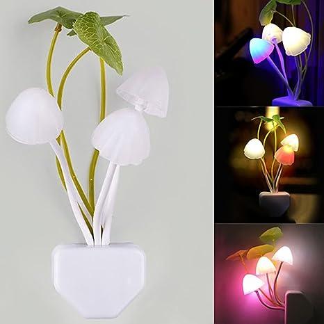 Creative Lamp Colorful LED Mushroom Night Light Bed Wall Lamp Sensor Home Decor