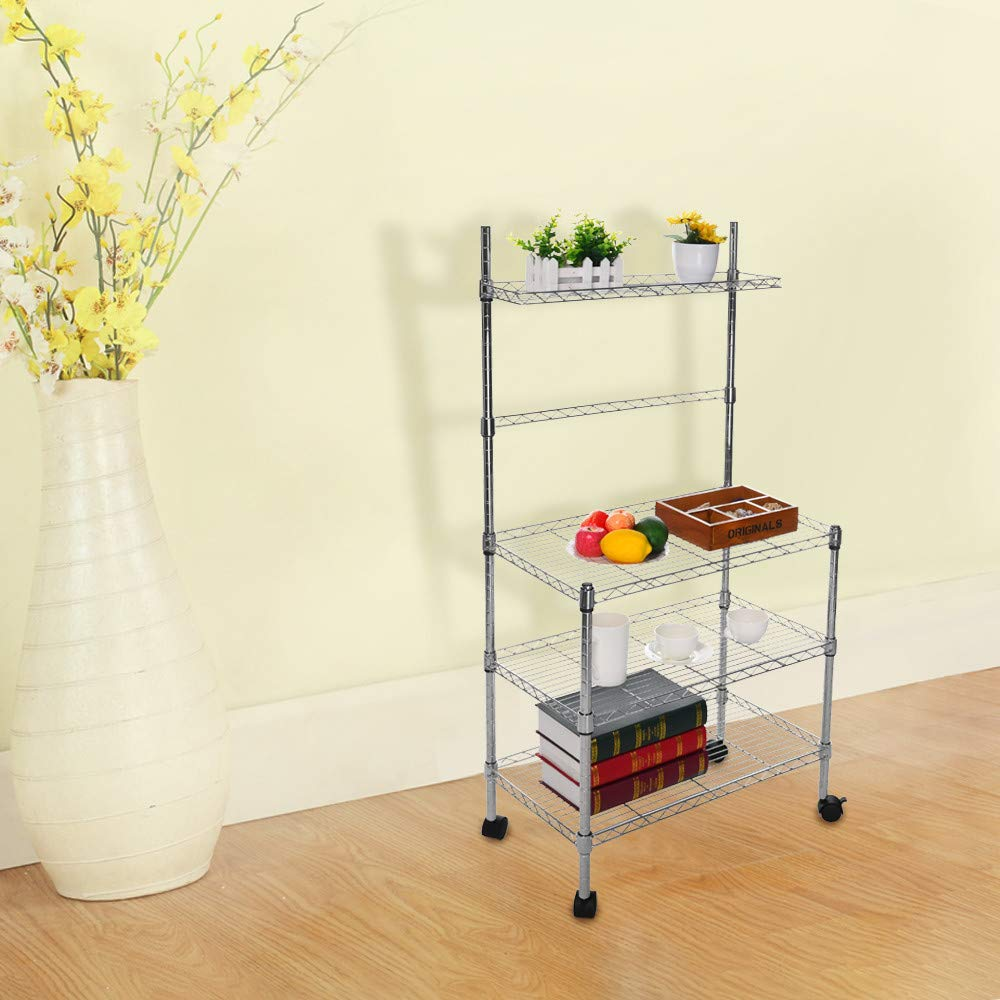 Hisoul Hot  3-Layer Microwave Rack Easy to Move Kitchen Cart Microwave Stand Storage Rack with Four-Wheel Storage Rack with Spice Rack - Silver - 23.62''x13.78''x47.24'' - Shipped from USA (Silver) by Hisoul (Image #7)