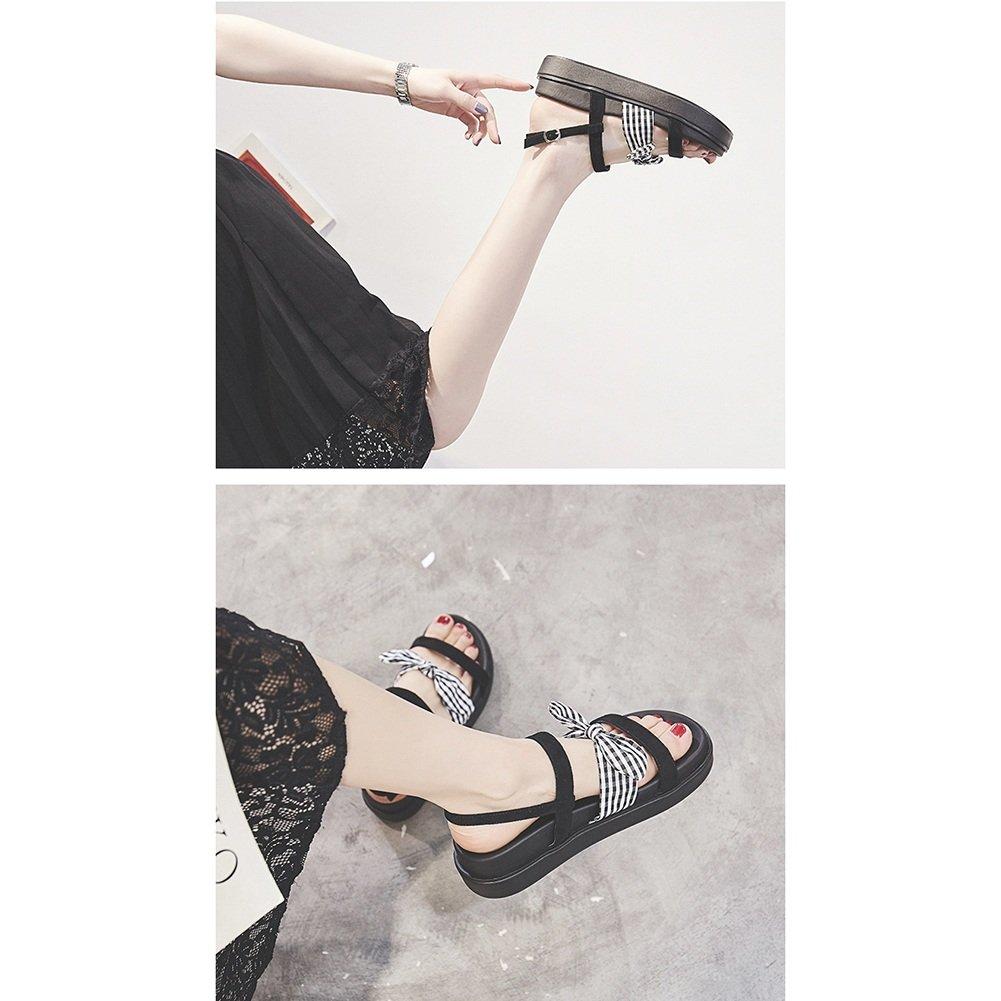 LIXIONG Sommer-weibliche Sandelholz-Studenten-starke untere Retro- flache Unterseite, mit hohem 4cm, (Farbe 3 Farben Modeschuhe (Farbe 4cm, : Schwarz, größe : EU39/UK6/CN39/245) Schwarz e0a316