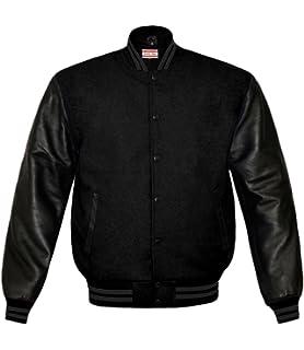 superb genuine leather sleeve letterman college varsity men wool jackets