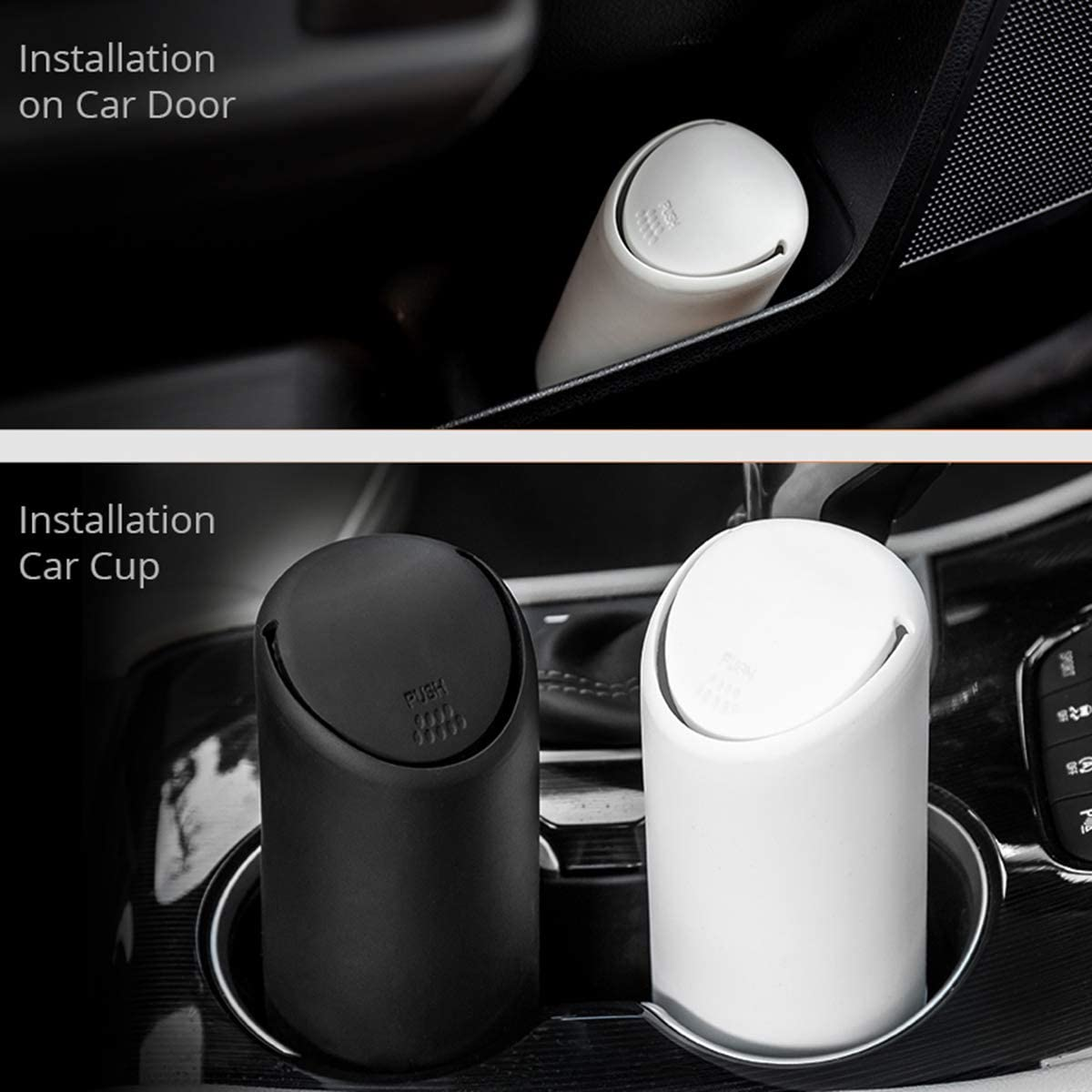 1pc Car Trash Can with Lid Dibiao Silicone+Plastic Cup Shape Trash Container