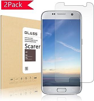 de 2 unidades] Samsung Galaxy S7 – Protector de pantalla, scarer Samsung Galaxy S7 Protector de pantalla, ultra Transparencia Full HD, libre de burbujas, antihuellas y alta calidad: Amazon.es: Electrónica