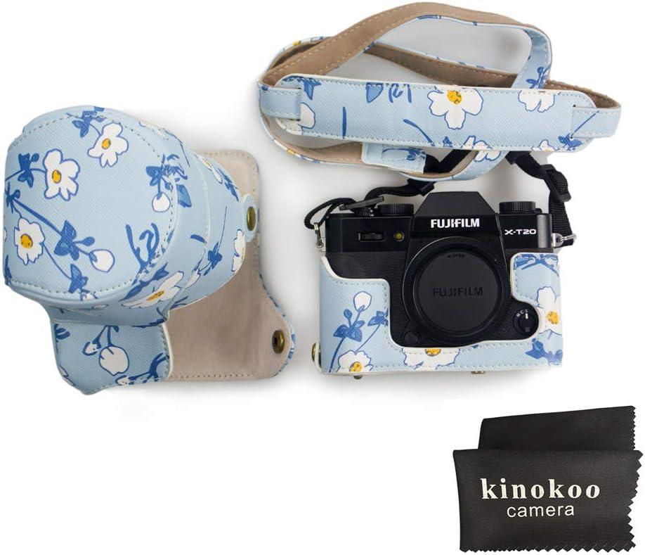 50 mm Fujifilm X-T10 Fujifilm X-T30 et objectif de 16 Kinokoo /Étui en cuir polyur/éthane pour appareil photo Fujifilm X-T30 Fujifilm X-T20 18-55 mm avec bandouli/ère et chiffon de nettoyage