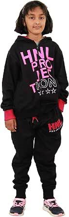 Chándal de diseño HNL para niños y niñas, con capucha y parte inferior para correr de 7 a 13 años