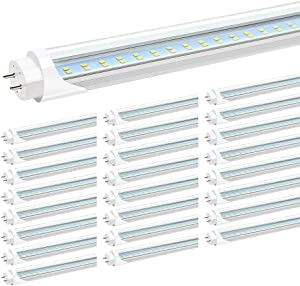 JESLED T8 4FT LED Light Bulbs, 24W 6000K-6500K, 3000LM, T12 4 Foot LED Tubes Replacement for Fluorescent Fixtures, Clear, Dual Ended Power, Bypass Ballast, Garage Warehouse Shop Lights (25-Pack)