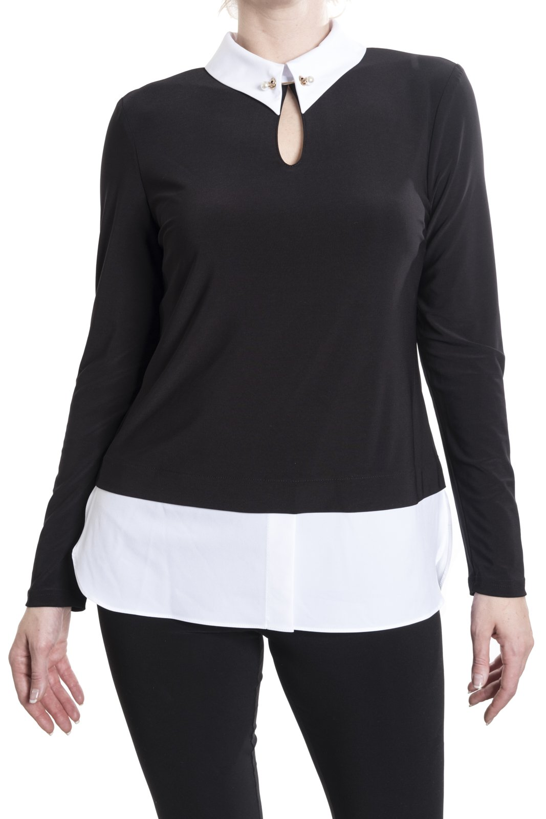 Joseph Ribkoff Black/White Top With Pearl Stickpin Style 181225 Size 16