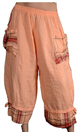 Damen Patchwork weite Leinenhose Capri Bermudas Lagenlook Sommer Leinen Hose  Haremshose Harem Shorts Pumphose 40 42 341b4bd3bb