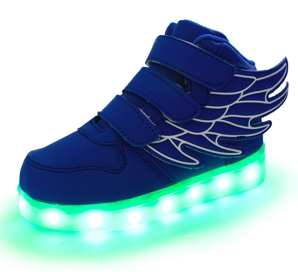 Ausom Kid Boy Girl Upgraded USB Charging LED Light Up Sport Wings Shoes Flashing Fashion Sneakers Dark Blue