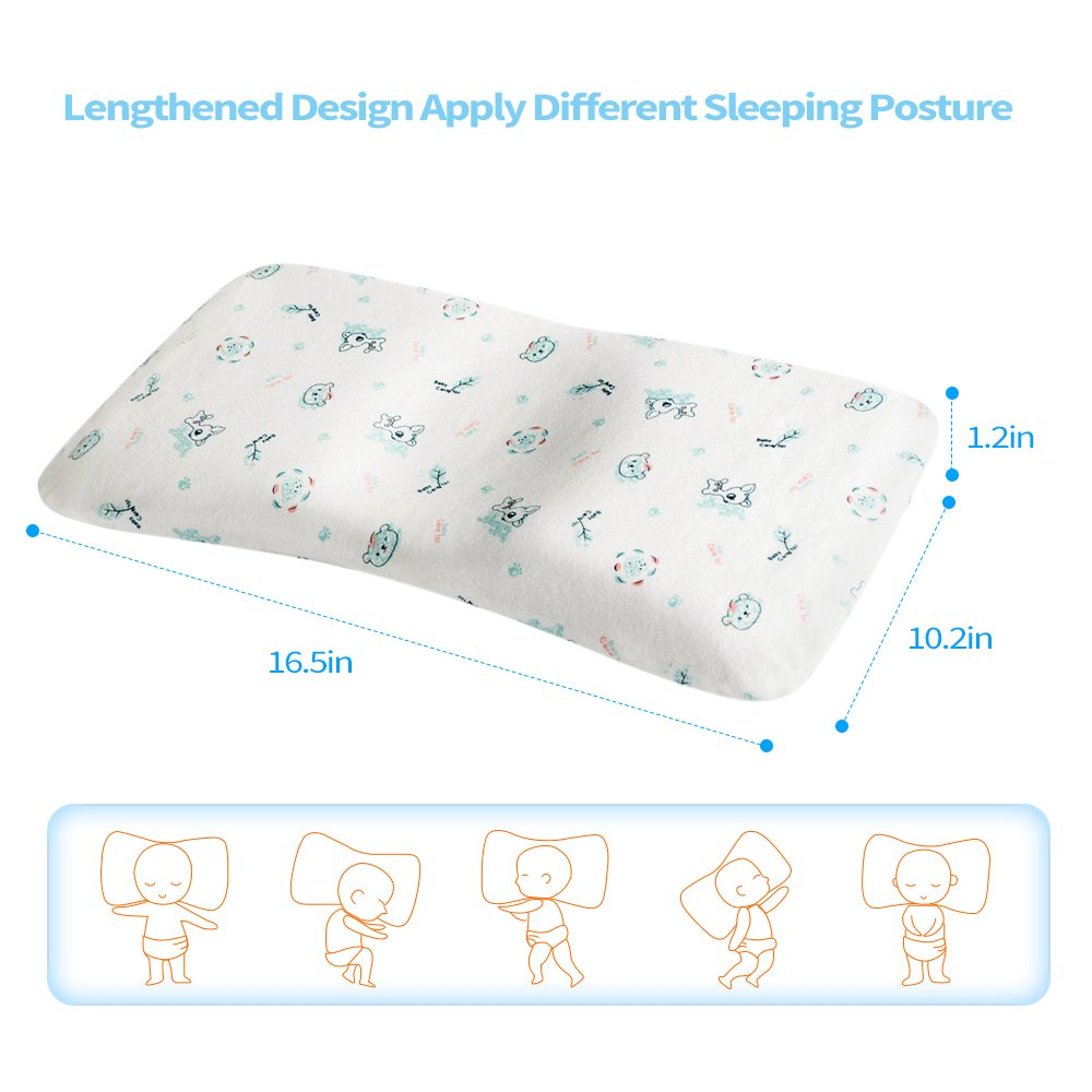 Dogggy Baby Pillow for Sleeping Memory Foam Unisex Infant Pillow Baby Head Shaping Prevent Flat Head Syndrome 100/% Cotton Fleece Inner Core Newborn Gift for Baby Girls Boys