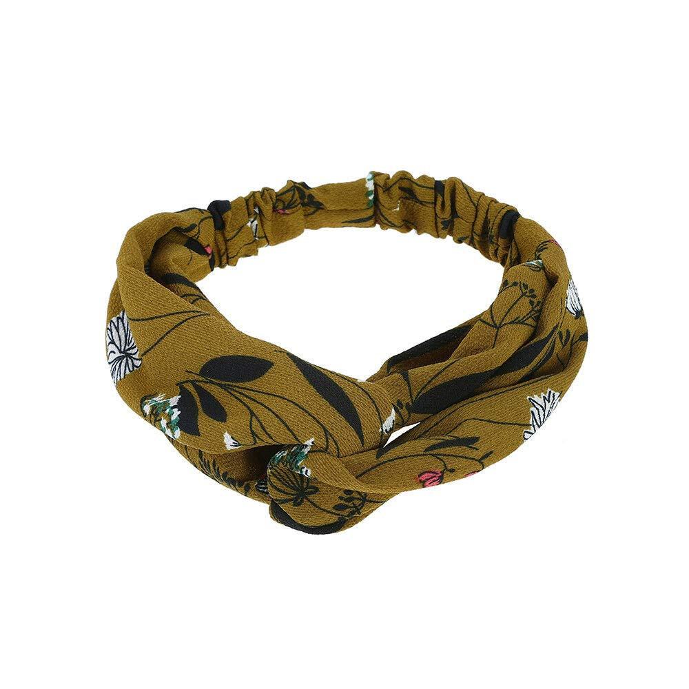 MOPOLIS Ladies Womens Elastic Floral Print Headband Bandana Turban Hairband Head Wrap | Colors - Yellow green #2