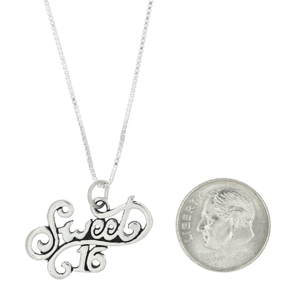 Sterling Silver One Sided Cursive Sweet 16 Necklace