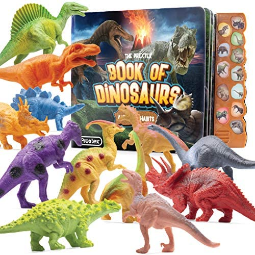 Prextex Realistic Looking Dinosaur With Interactive Dinosaur Sound Book – Pack of 12 Animal Dinosaur Figures with Illustrated Dinosaur Sound Book Toys for Boys and Girls 3 Years Old & Up