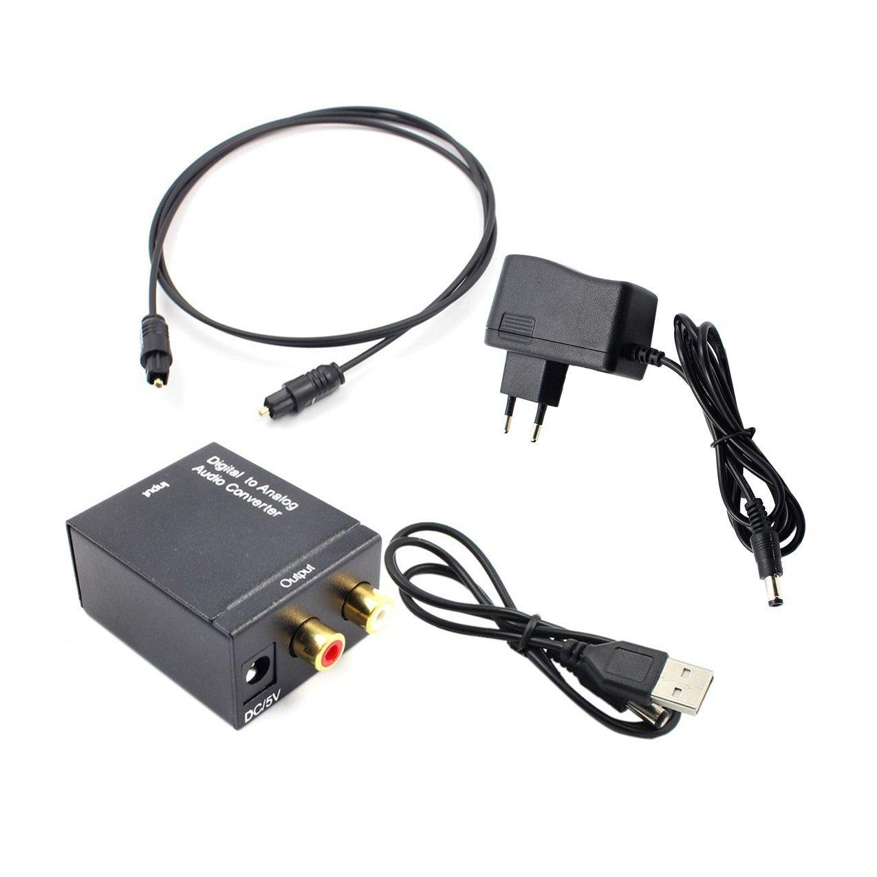 Adaptador convertidor de audio Toslink óptico y coaxial R/L Coaxial óptico digital para convertidor analógico de audio RCA con cable de fibra: Amazon.es: ...