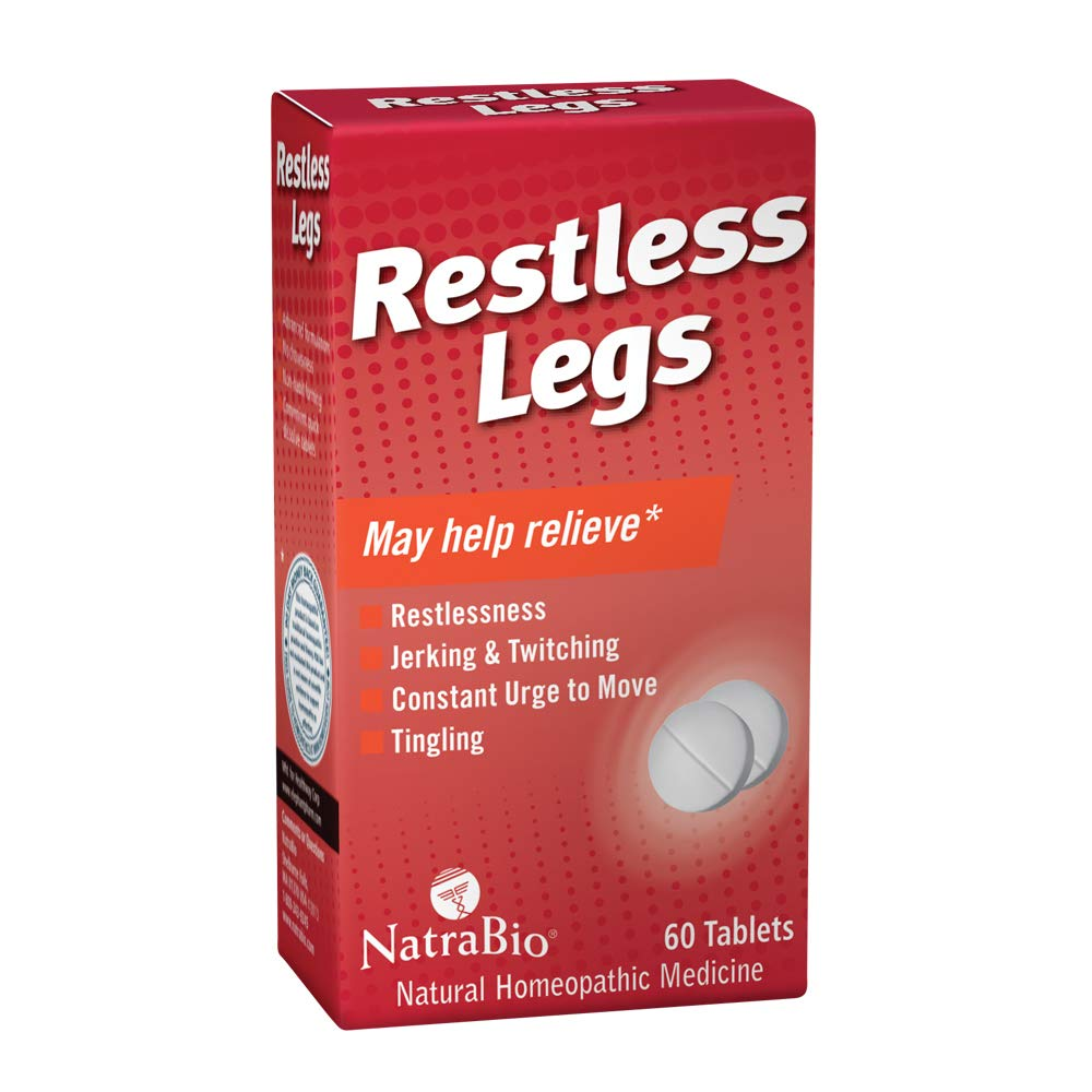 NatraBio Restless Legs Homeopathic Formula | for Temporary Relief from Restlessness, Twitching & Constant Urge to Move | Non-Drowsy | 60 Tablets