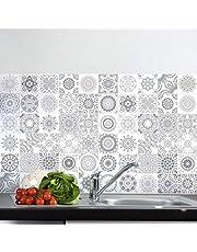 60 tegelstickers, zelfklevende tegels, mozaïektegels, wandtattoo, badkamer en keuken, tegellijm, nuance-grijs, 10 x 10 cm, 60-delig