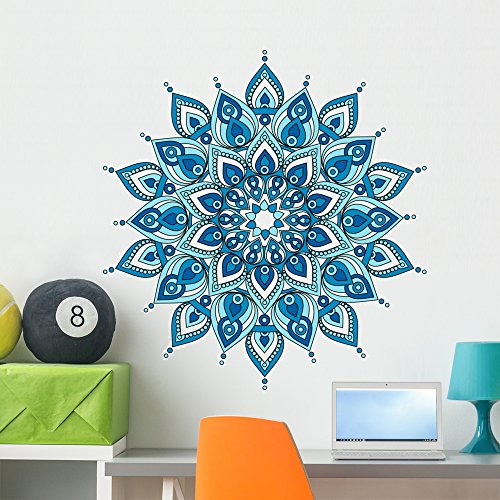 Wallmonkeys Decorative Blue Mandala Wall Decal Peel and Stick Graphic (36 in H x 34 in W) WM376331