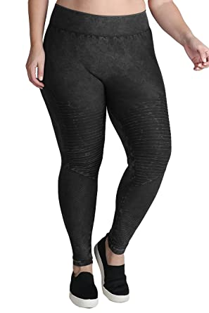 d0567472a2cd4 Image Unavailable. Image not available for. Color: Nikibiki Women's Seamless  Vintage Dye Moto Leggings ...