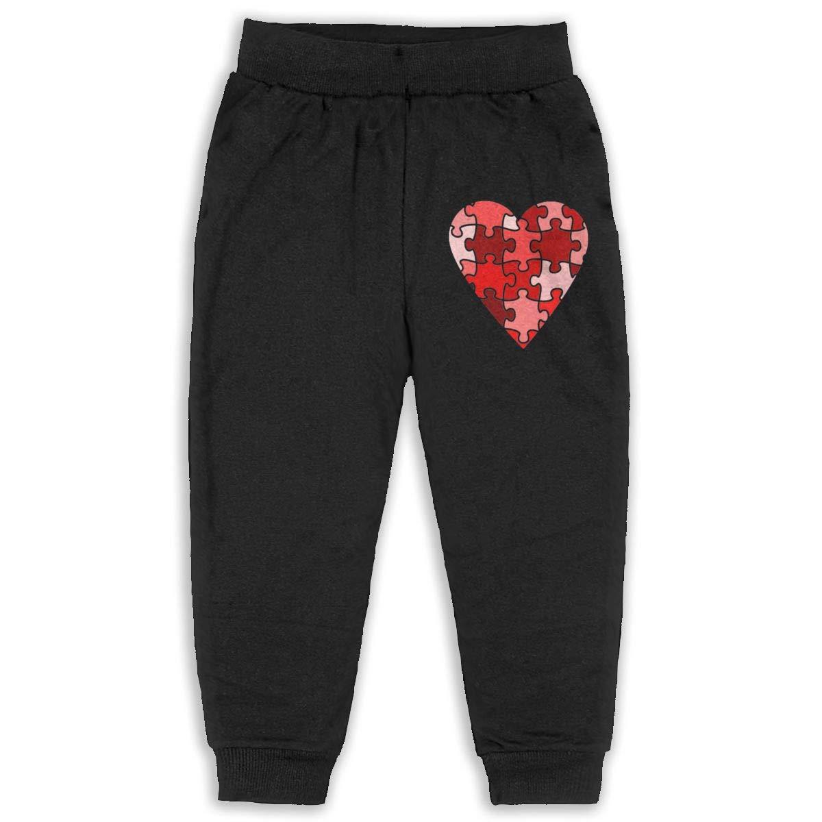 Puzzles Art Heart Shape Children Cartoon Cotton Sweatpants Sport Jogger Elastic Pants