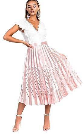 Ikrush Womens Gabbana Metallic Pleated Midi Skirt Amazon Co Uk