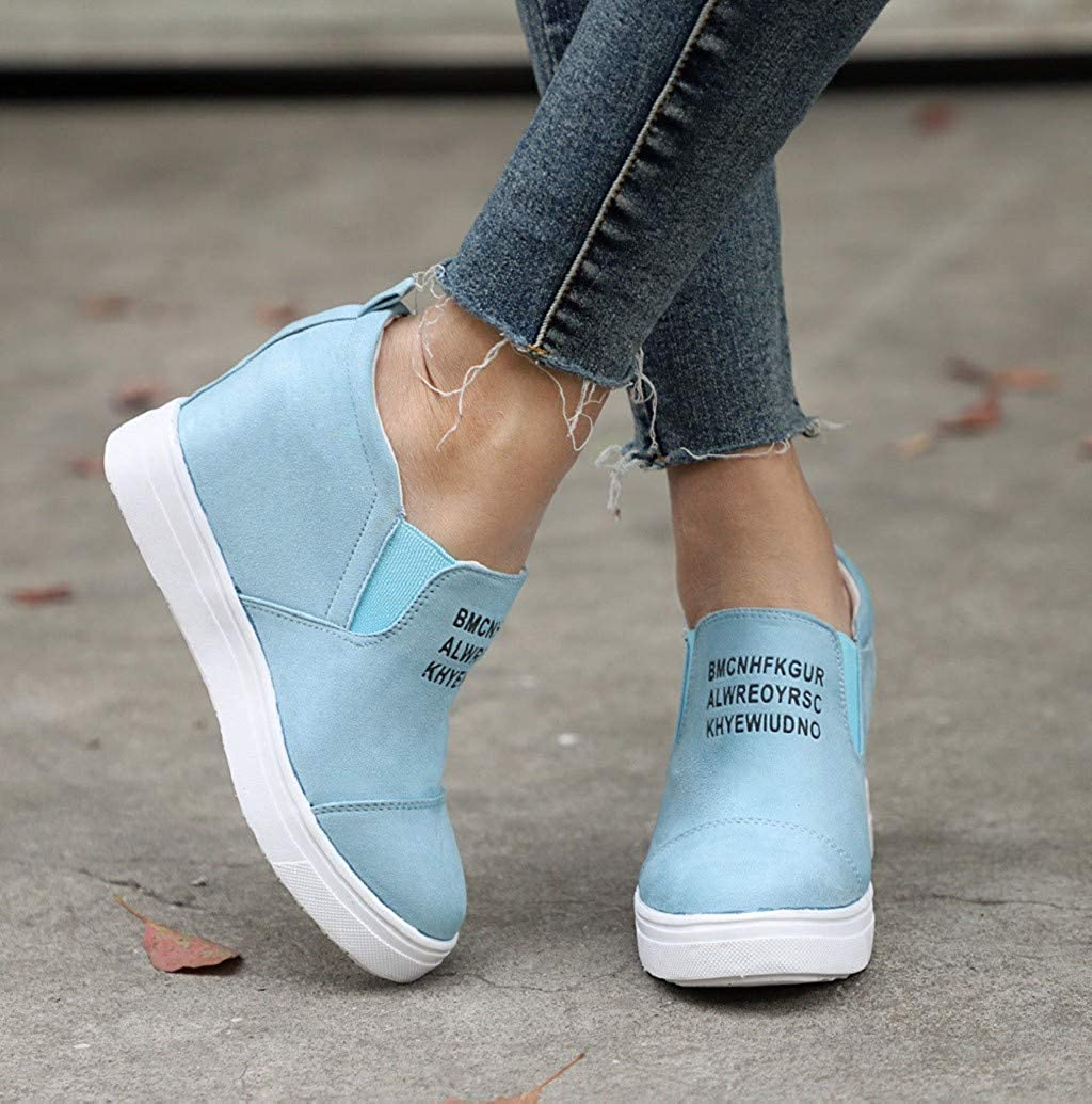 Wedges Ankle Boots for Women Letter Hidden Wedges Heel Flat High Top Sneakers Increase Height Work Shoes by Sopzxclim