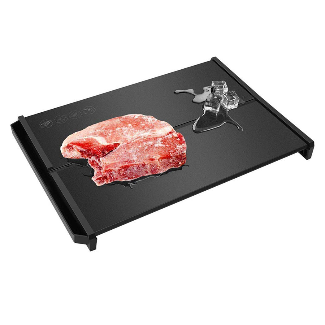 Inkach Fast Defrosting Tray for Frozen Food Quick Defrost Meat Board Mat (Black) (Multicolor)