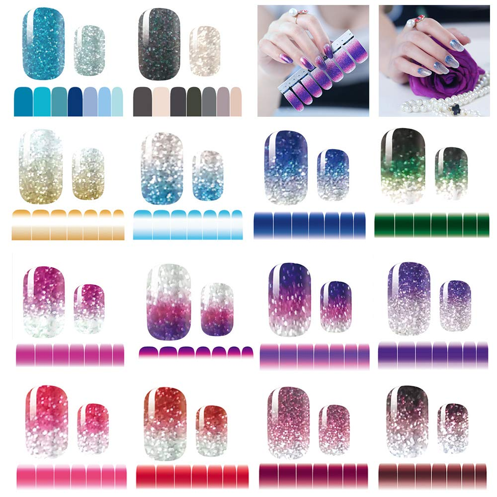 14 Sheets Nail Stickers Glitter Gradient Color Shine Full Wraps Polish Stickers Strips Self-Ashesive Nail Art Sets for Women Girls by mwellewm