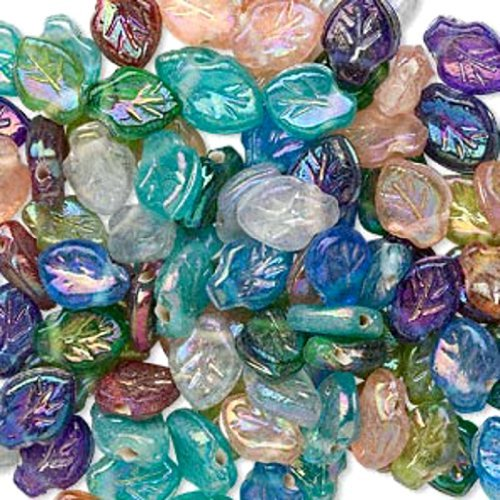 Luster Leaf Beads Hand Crafted Pressed Glass Mixed Colors 12x9mm Lot of 100 beads (Pressed Leaf Beads)