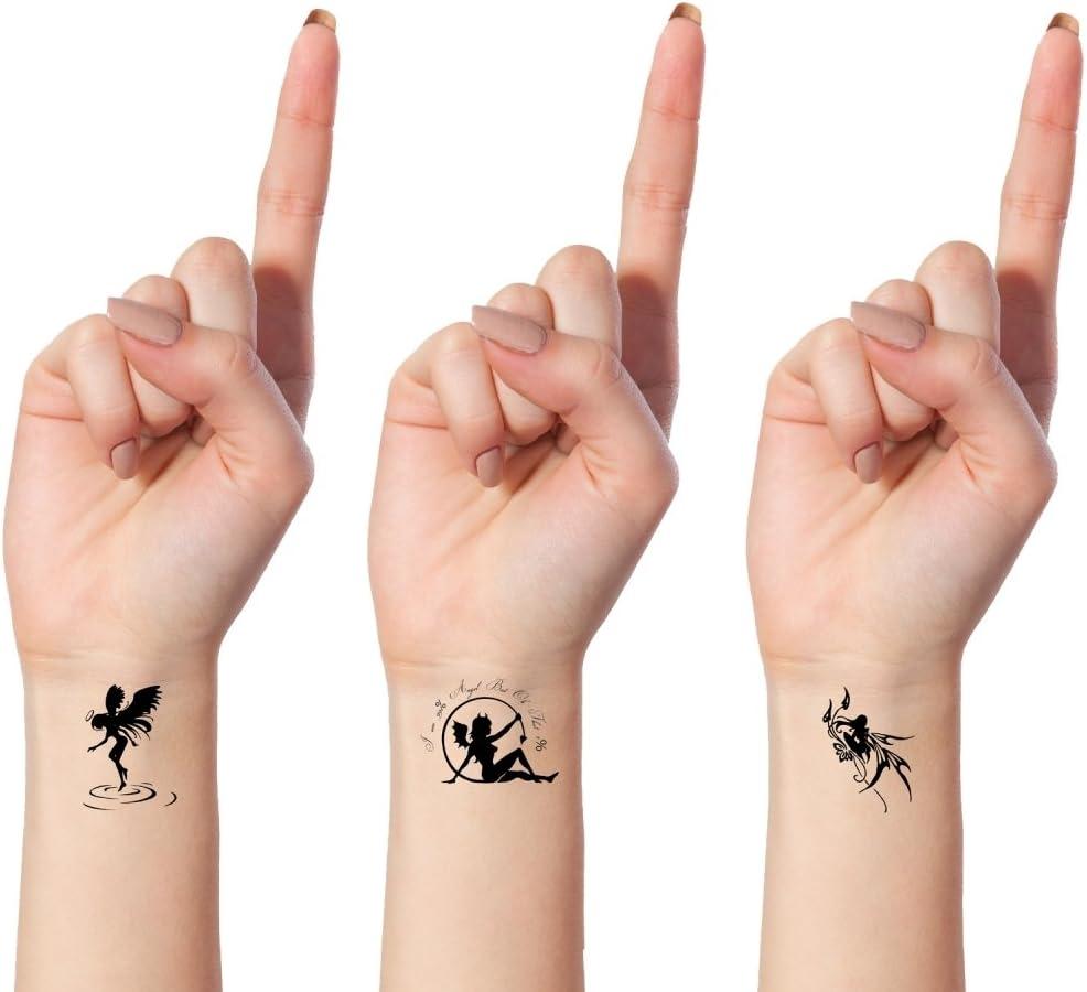 Tatouages Ephemeres Bling Art Planche Anges Demons Noir De 10 Tatouage Femmes Ru Amazon Fr Beaute Et Parfum