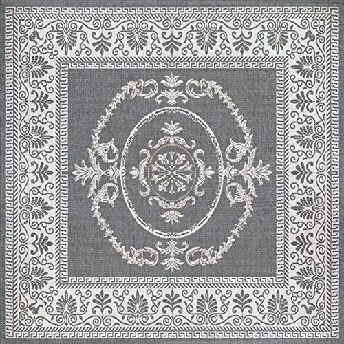 Couristan 1078/3012 Recife Antique Medallion/Grey-White 8-Feet 6-Inch Square Rug