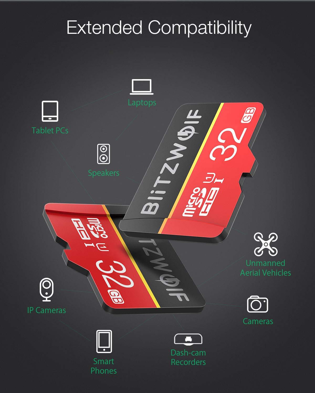 SD Adapter f/ür Telefon BlitzWolf TF Karte 32GB Micro Speicherkarte Klasse 10 UHS-1 SD Karte Speicher Memory Flash Card 32GB Tablet und PC