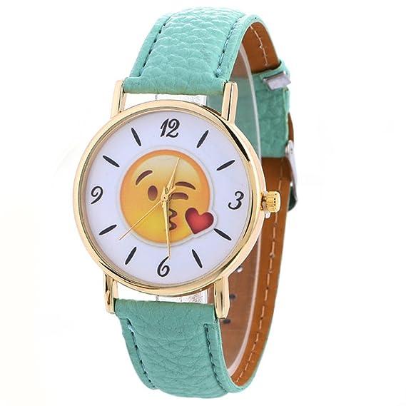 Watches Relojes loveso 2017 Fashion Cute Emoji Leather banda Quartz Wrist Watch _ verde menta: Amazon.es: Relojes