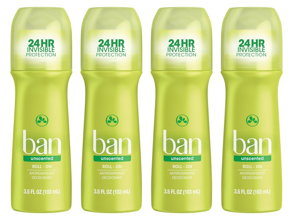 Ban Roll-On Antiperspirant Deodorant, Unscented, 3.5-Ounce Bottles (Pack of 4)