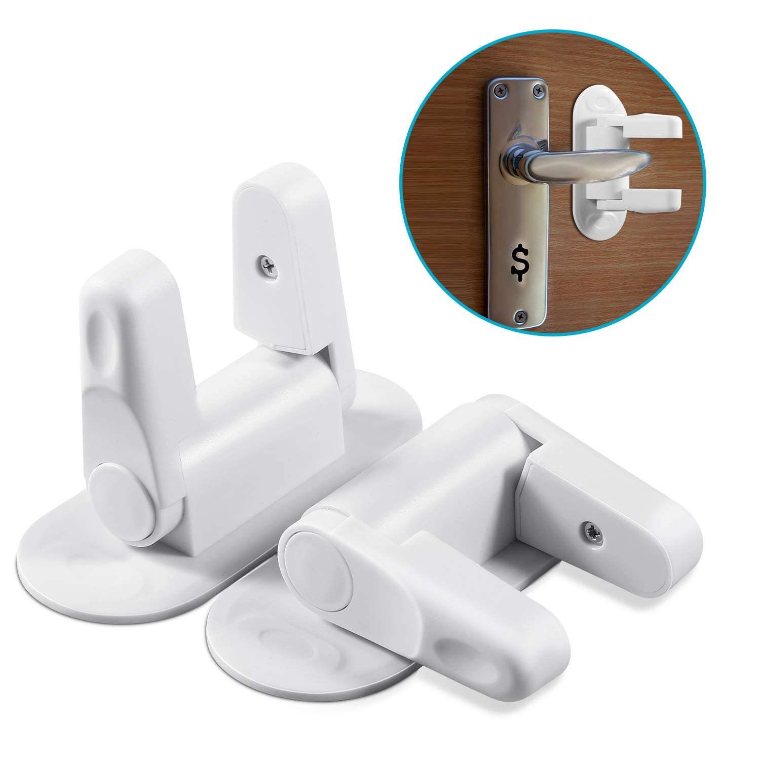 Door Lever Lock (2 Packs) Pets Child Proof Door Handle Latches Baby Safety Door Locks 3M Adhesive UZOPI