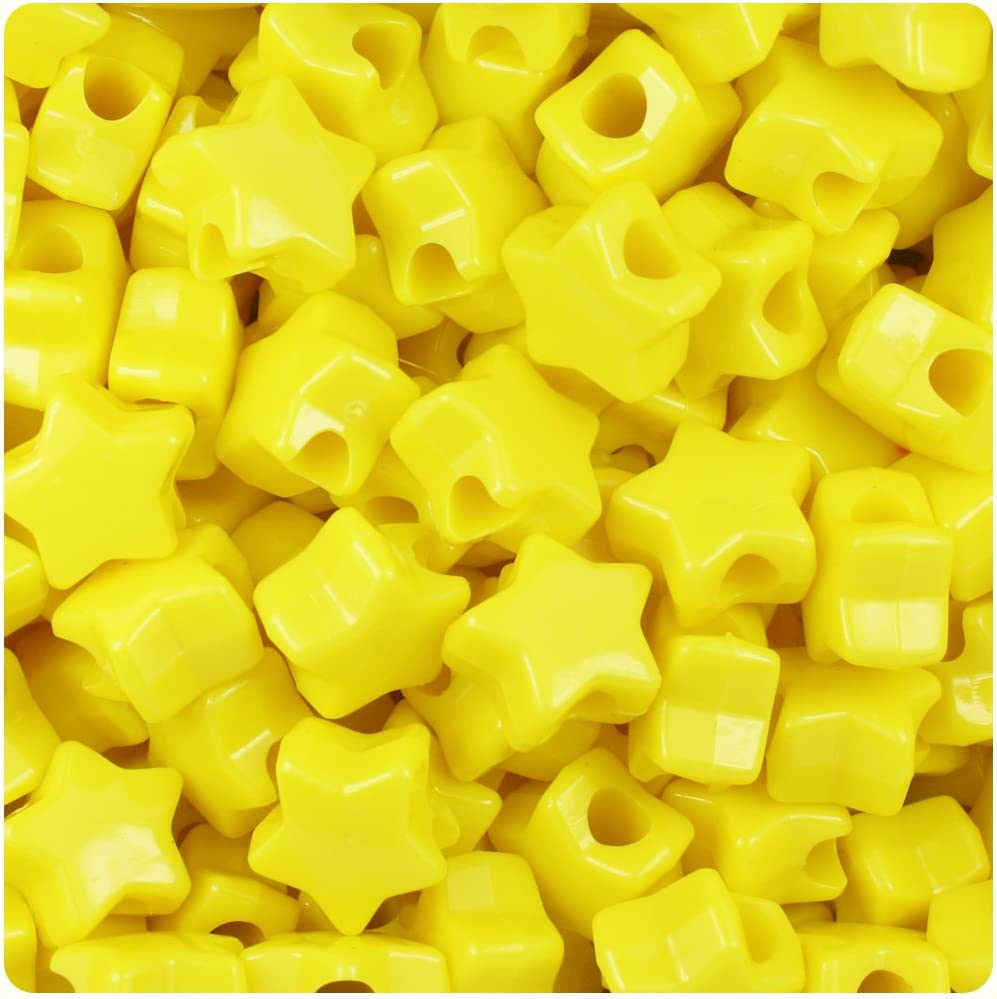 50 x Yellow Opaque 13mm Star Shape Highest Quality Pony Beads