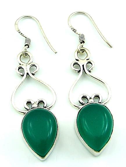 925 Silver Plated Green Onyx Gemstone Earrings Dangler Girl Fashion Jewelry-1486