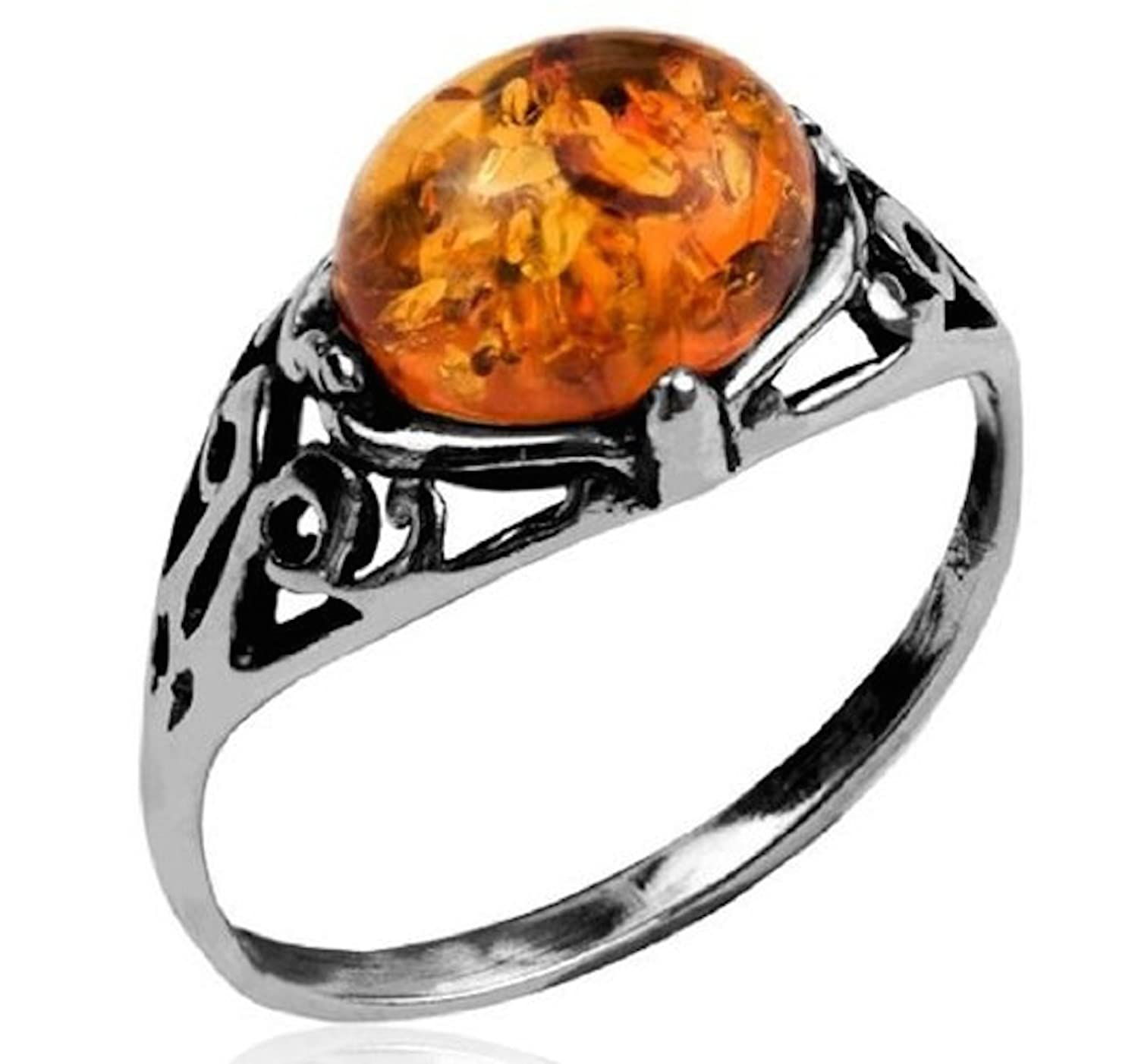 Amber and Sterling Silver Prong Ring
