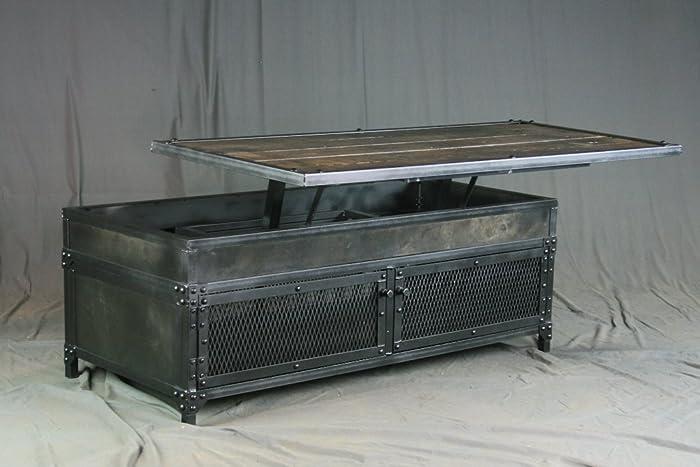 Vintage Industrial Lift Top Coffee Table Modern Reclaimed Wood Distressed