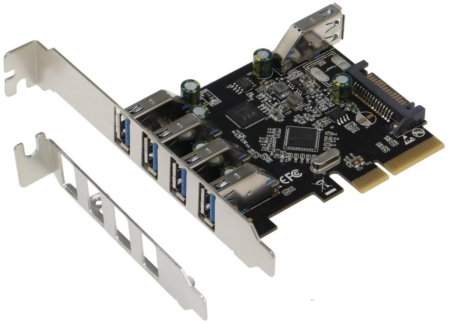 Sedna - PCIe 5 Port (4E1I) USB 3.1 Gen II (10Gbps) Adapter Card with Low and Standard Profile Brackets by Sedna