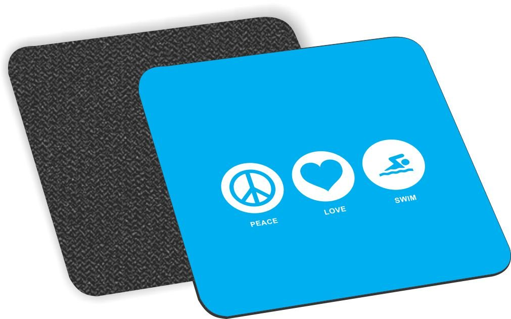 Rikki Knight Peace Love Dance Sky Blue Design Soft Square Beer Coasters (Set of 2), Multicolor