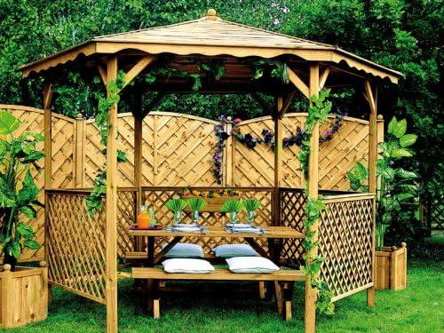 Burger Jardipolys-Cenador de jardín LORA techo madera: Amazon.es: Jardín