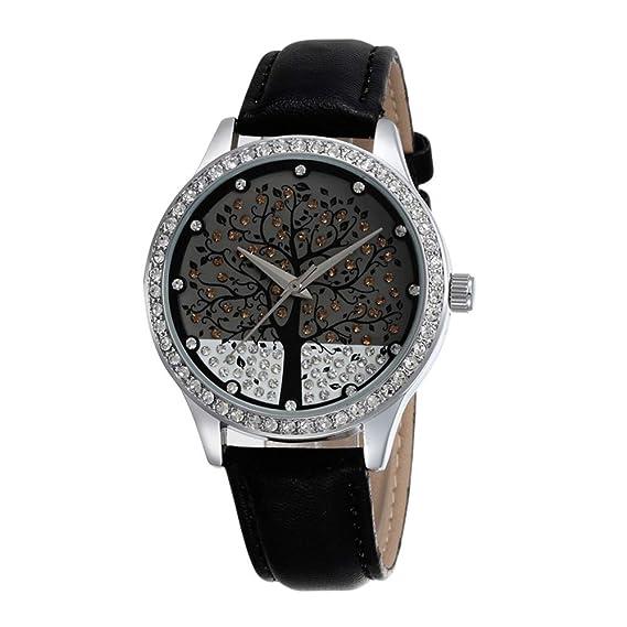 Diamante de imitación Arbol de la Vida Relojes de Mujer, Correa de PU Reloj de Cuarzo para Damas: Amazon.es: Relojes
