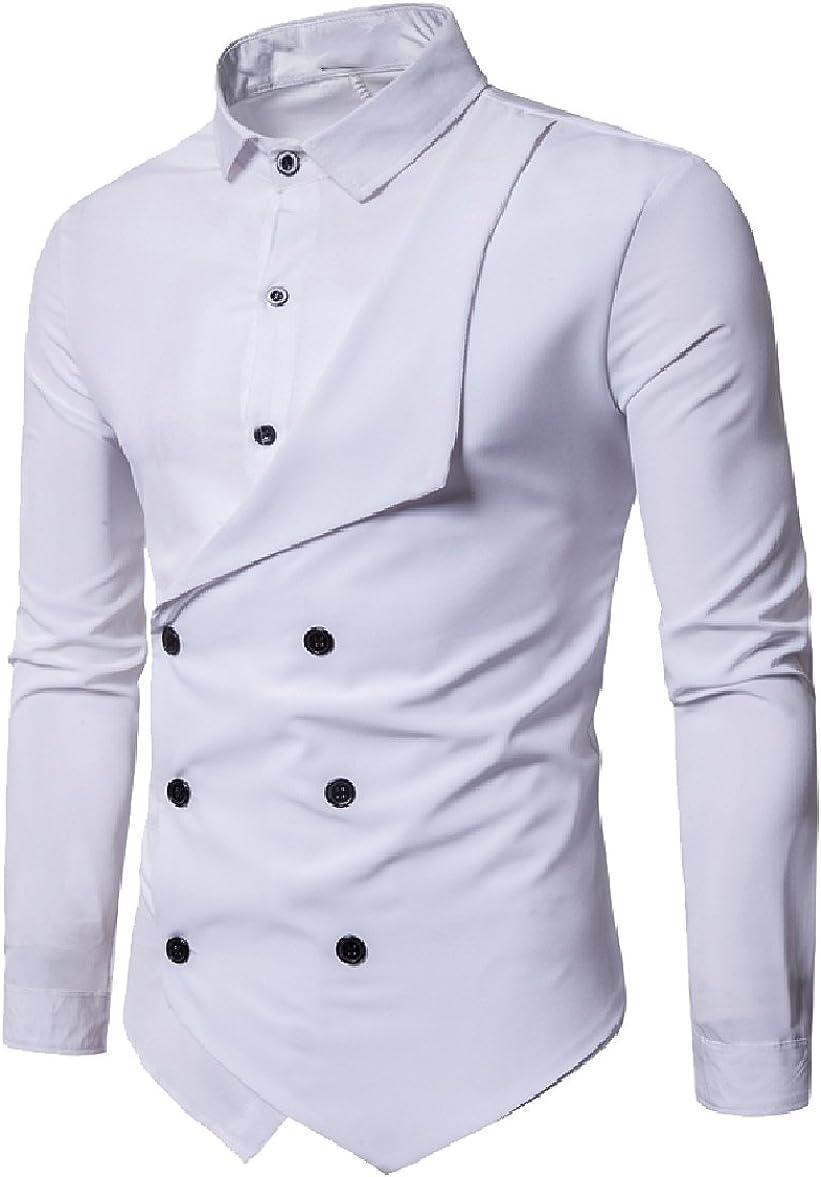 Jotebriyo Men Long Sleeve Fake Two Pieces Stripe Regular Fit Vest Button Down Blouse Shirt Tops